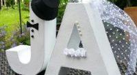 Hochzeits-Deko Pappbuchstaben JA